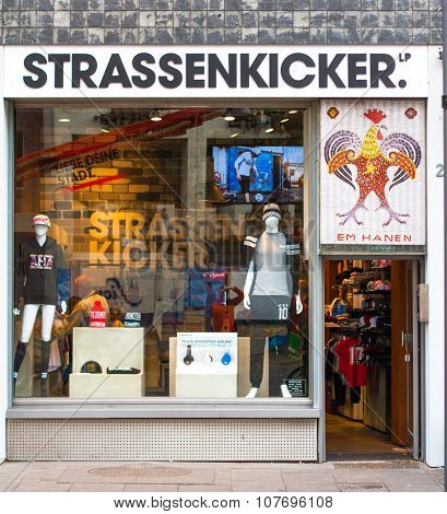 COLOGNE, GERMANY - NOVEMBER 2015: Soccer player Lukas Podolski brand Strassenkicker store in Cologne Germany
