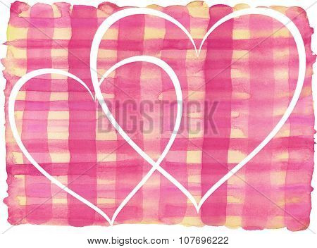 Pink, yellow lines painted watercolor pattern with white hearts