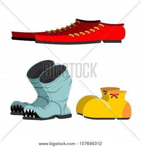Shoes Set. Old Broken Boots. Shoes For Men Long. Funny Clown Shoes.