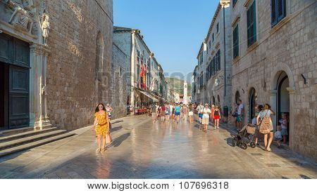 Tourists On The Old Town Of Dubrovnik.