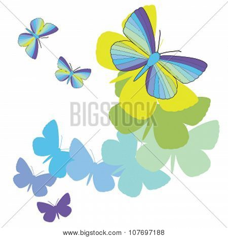 Flying iridescent butterflies on a white background