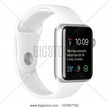 Apple Watch Sport 42Mm Silver Aluminum Case With White Sport Band Left Side View