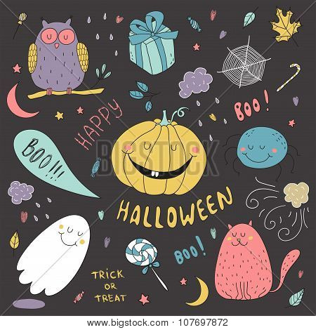 Hand Drawn Vector Halloween Set