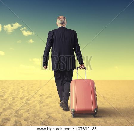 back view of walking businessman with suitcase in a desert