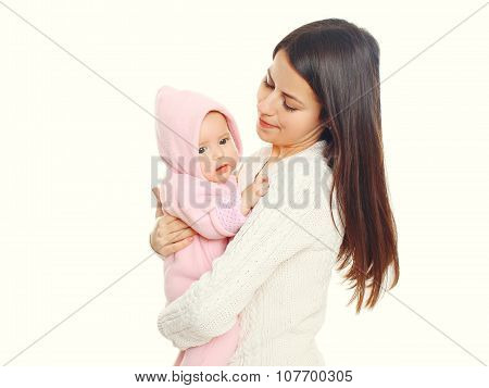 Portrait Mother Holding Baby In The Bathrobe After Bath On White Background