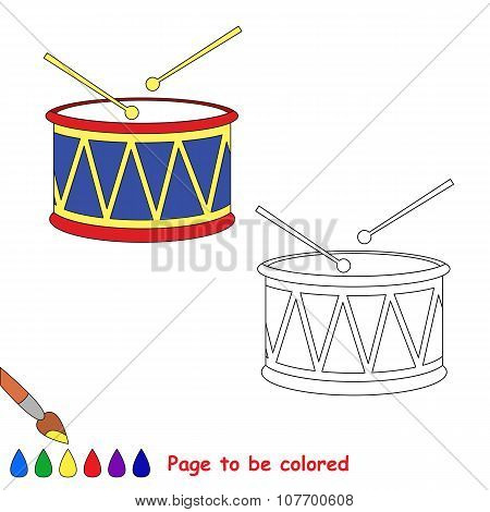 Vector cartoon drum to be colored.