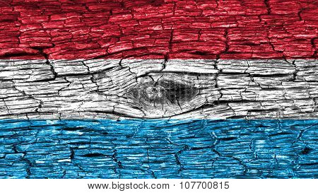 Flag of Luxembourg painted on wood texture