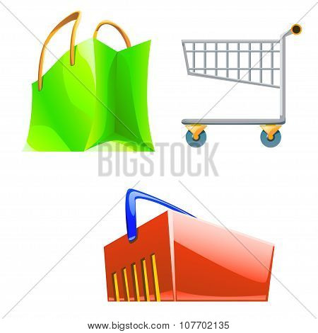 different type of shop bags coloured