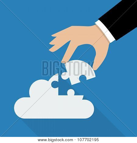 Hand Inserts The Missing Puzzle In Cloud