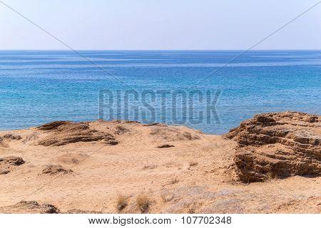 Sandy Hill Or Barkhan And Sea Horizon