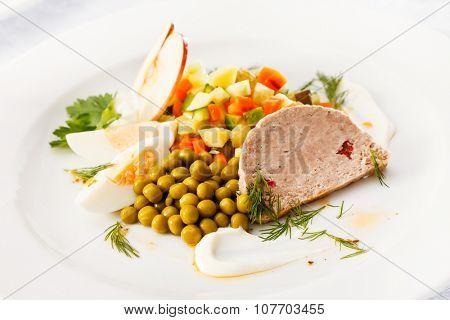 Foie gras pate with salad