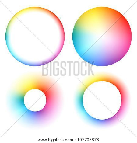Colorful spectrum round frames set.