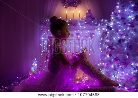 Girl Child Fairy Star, Christmas Tree Lights, Kid Holiday Night