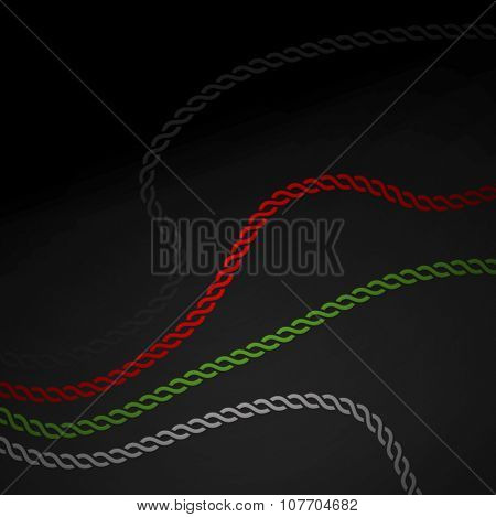 Wavy graphic chain in UAE flag colors. Strength of unity - a concept.