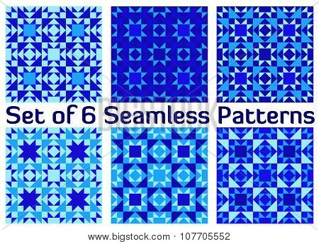 Set of six stylish geometric seamless patterns with triangles and squares of blue shades