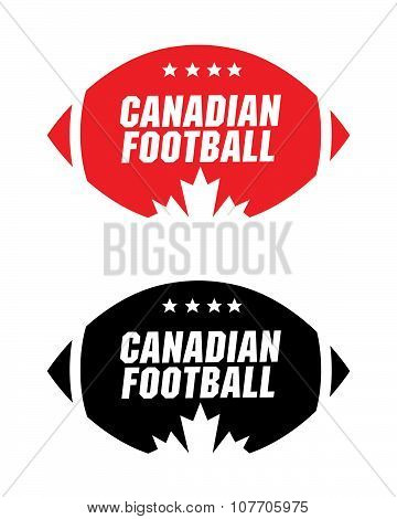 Canadian Football Icon in Color and Black and White