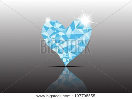 Polygon Ice Diamond Heart