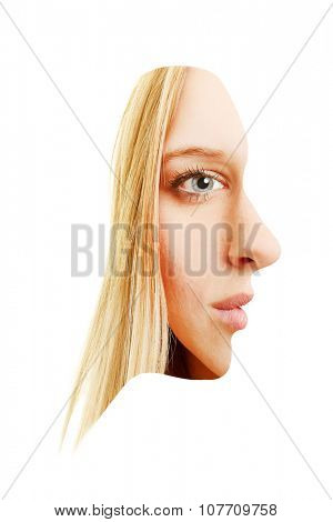 Front and side view of face of a young blonde woman