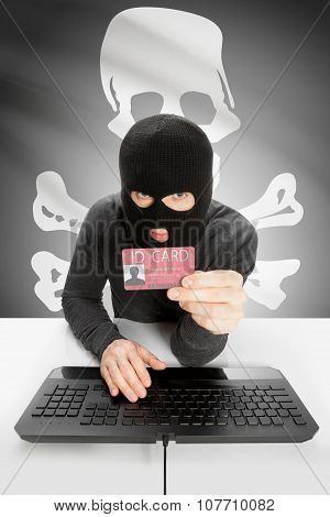 Hacker With Usa States Flag On Background And Id Card In Hand - Jolly Roger Flag - Symbol Of Piracy