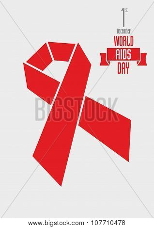 Vector Illustration Concept With Red Ribbon Aids Awareness