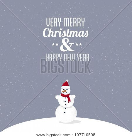 Very Merry Christmas & Happy New Year. Greeting card illustration with cute snowman on hill.