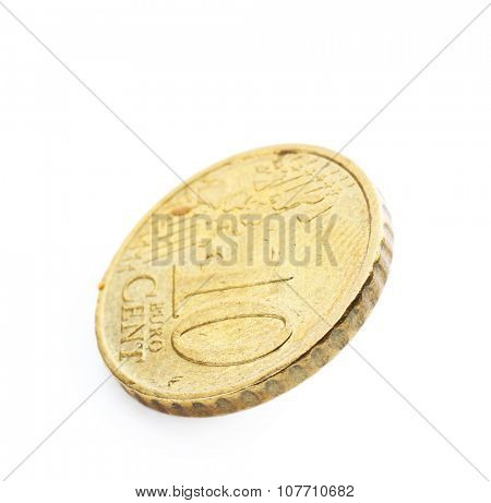 Ten cent coin isolated on white background