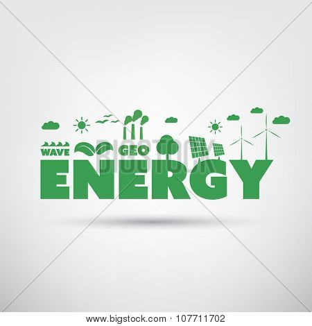 Energy Text With Green Energy Icons