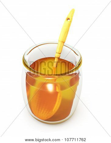 Open A Jar Of Honey With Wooden Spoon On A White. 3D.
