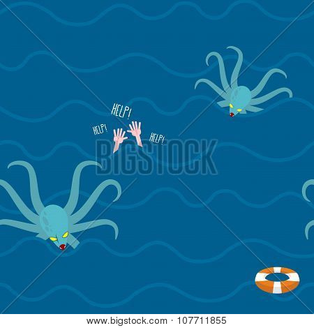 Octopus In Ocean. Man Drowns Seamless Pattern. Repeating Waves In Sea. Hands In Water. Lifebuoy And