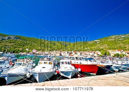 Boats In Komiza Harbor Summer View
