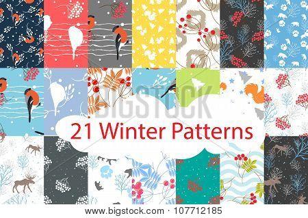 Winter seamless pattern bundle set.