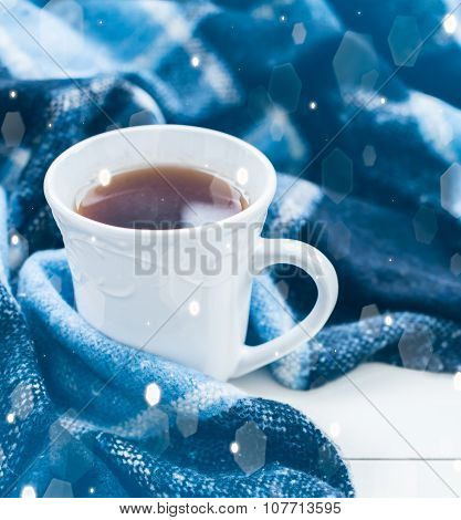 hot tea and a blue checkered plaid