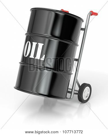Hand Truck With Oil Barrels