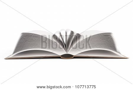 Open Book With Folded Leaves. 3D Illustration.