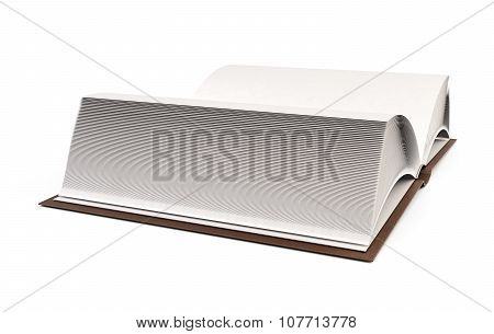 Close Up Of Open Book With Blank Page Isolated On White. 3D.