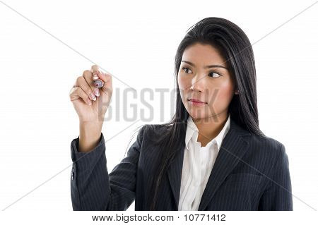 Businesswoman Writing With A Red Marker