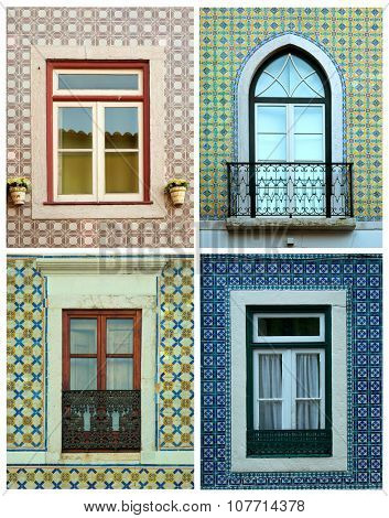 Collage of 4 different windows surround by tiles in Portugal