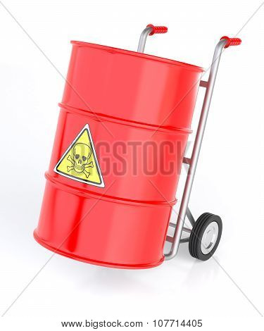Hand Truck With Toxic Barrels