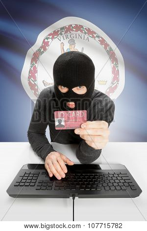 Hacker With Usa States Flag On Background And Id Card In Hand - Virginia