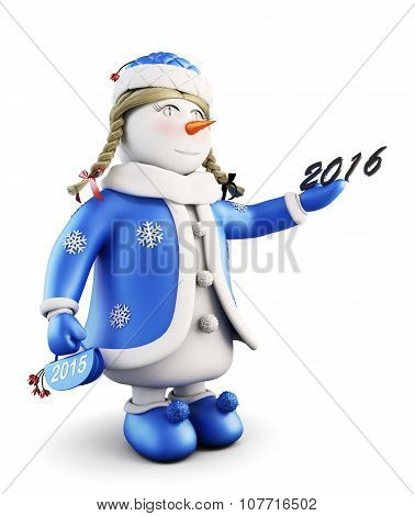 Snow Maiden With New Year. 3D.
