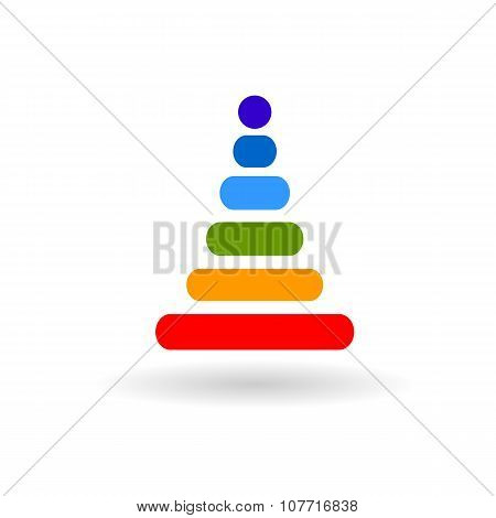Baby Rainbow Pyramid Flat Vector Icon With Shadow