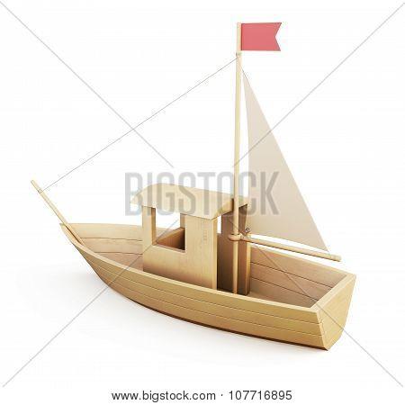 Wooden Sailboat. 3D Illustration.