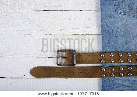 Planks, Blue Jeans And Belt