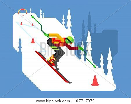 Slalom downhill skiing