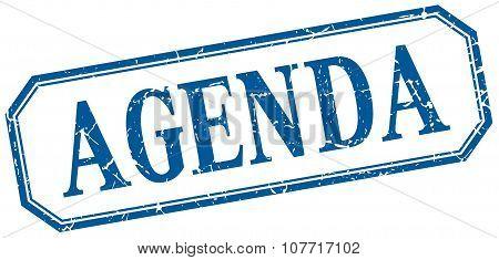 Agenda Square Blue Grunge Vintage Isolated Label