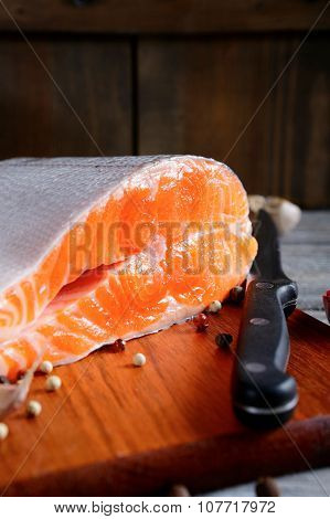 Delicious Portion Of Fresh Salmon Steak Slices With Spices