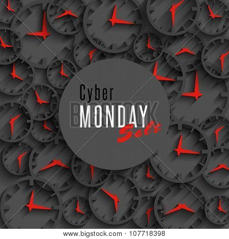Cyber Monday Sale Banner, Mockup Special Promo Poster Or Flyer, 3D Clock And Round Area For Advertis