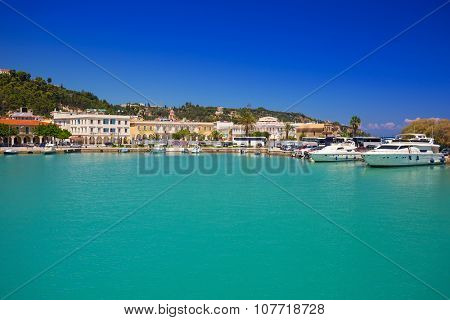 ZAKINTHOS, GREECE - AUG 24, 2015: Marina with boats on the bay of of Zante town on Zakynthos island, Greece. Zakynthos city called Zante town is a capital and biggest city of this small greek island.