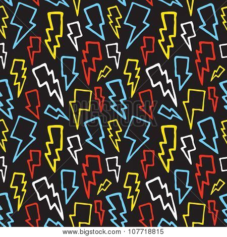 Thunder bolts seamless vector pattern