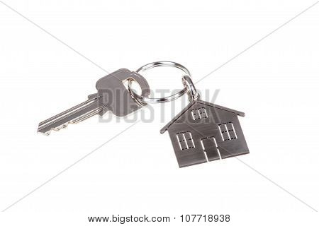 House Key And Keychain Isolated On White